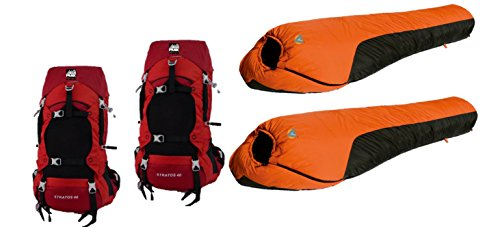 Alpinizmo High Peak USA 2 Mt. Rainier 0F Sleeping Bags Two 40 L Hiking Pack Combo Set, Red Orange, One Size