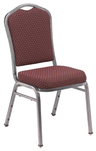 Stacking Steel Chairs Back (NPS 9368-SV Fabric-upholstered Crown Back Silhouette Stack Chair with Steel Silvervein Frame, 300-lb Capacity, 17