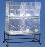 COMBO: LARGE Stack and Lock Double Breeder Cage Bird Breeding Cage With Removable Divider And Breeder Doors 2 Of 30'' x 11'' x 15''H Cages *Galvanized* Large * And One Stand Black