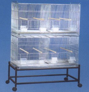 COMBO: LARGE Stack and Lock Double Breeder Cage Bird Breeding Cage With Removable Divider And Breeder Doors 2 Of 30'' x 11'' x 15''H Cages *Galvanized* Large * And One Stand Black by Mcage