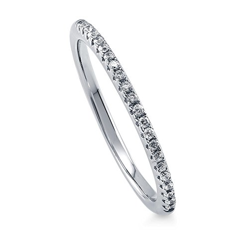 BERRICLE Rhodium Plated Sterling Silver Wedding Half Eternity Band Ring Made with Swarovski Zirconia Size 4 ()