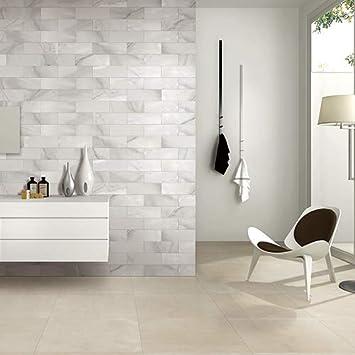 MUZZI Carrara White Marble Look Porcelain Subway Tile 12x 4 Matte Finish MZ191H-SP Kitchen Bathroom Backsplash Wall Decoration Tiles, 18pcs, Box of 5 Sq.ft