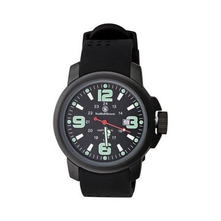 Smith & Wesson Field Watch - Smith & Wesson Men's SWW-1100 Amphibian Commando Black Glowing Dial Rubber Band Watch