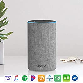 Echo (2nd Generation) – Smart speaker with Alexa and Dolby processing – Heather Gray Fabric