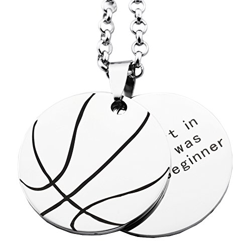 N.egret Personalized Basketball necklaces Chain pendants sport Jewelry Inspirational Quote Baseball Gift teens (Pendant Sports Tag Necklace)