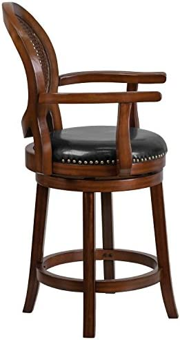 Flash Furniture 26 High Expresso Wood Counter Height Stool with Arms, Woven Rattan Back and Black Leather Swivel Seat