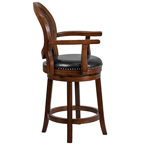 Flash Furniture 26 High Expresso Wood Counter Height Stool with Arms, Woven Rattan Back and Black Leather Swivel Seat, TA-550426-E-CTR-GG