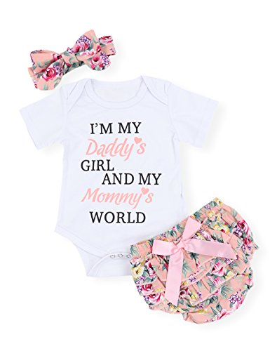 - Newborn Baby Girls Clothes Letters Romper Floral Shorts with Headband Bodysuit Outfit Sets (0-3M)