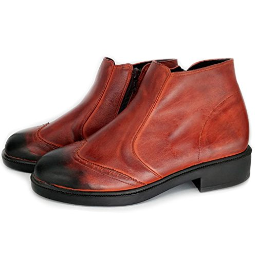 Epicstep Mens Robe Formel Casual Chaussures En Cuir Véritable Zip Lacets Bottines Marron