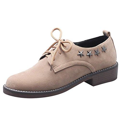 Studded Up Women's Retro Oxfords Comfort Carolbar Heel Beige Lace Low apricot Shoes w7p1qfan