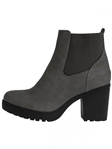 Grey Ankle CASPAR Boots Womens SBO045 Vintage Platform 1IYRwI