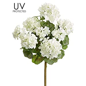 "Ten Waterloo White UV Protected Outdoor Artificial Geranium Bush - 18"" Tall 120"