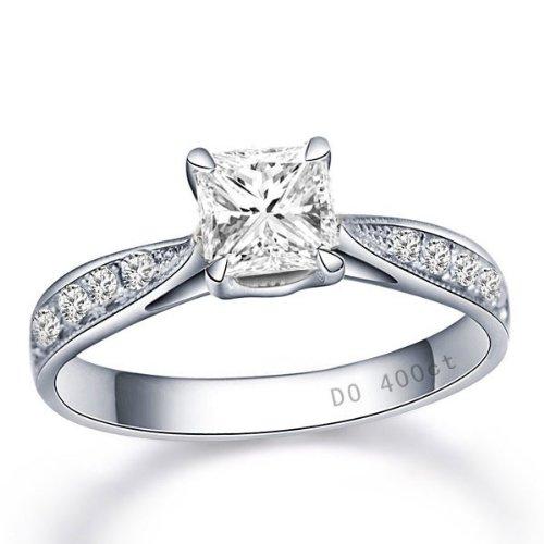 Fascinating Diamond Wedding Ring 0.50 Carat Princess Cut Diamond on 10k White Gold from JeenJewels
