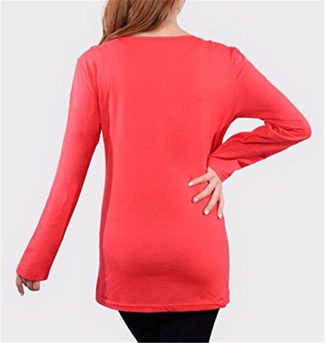 T Bluse Tayaho Donna Simpatiche shirt Femminili Cute Casual Red9 Rotondo Top Gravidanza Premaman Baby Forti Stampa Taglie Manica Collo Lunga Maglietta Bgxn07gWr