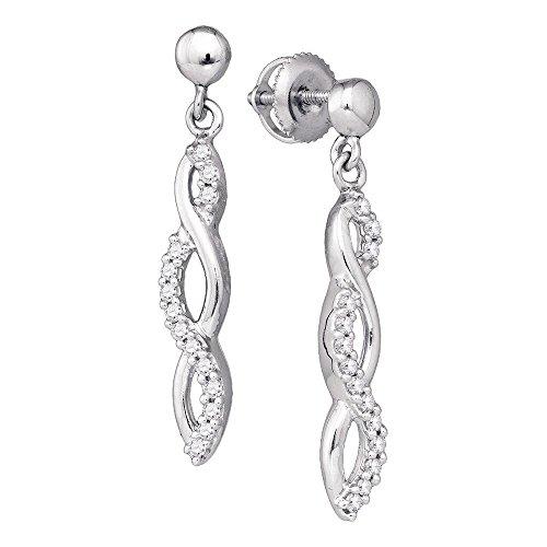 (10k White Gold Round Pave-set Diamond Womens Journey Dangle Screwback Stud Earrings 1/4 Cttw)