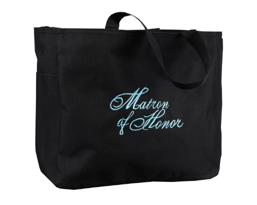 Hortense-B-Hewitt-Wedding-Accessories-Black-with-Aqua-Bridal-Party-Tote-Bag-Matron-of-Honor-12-by-14-Inch