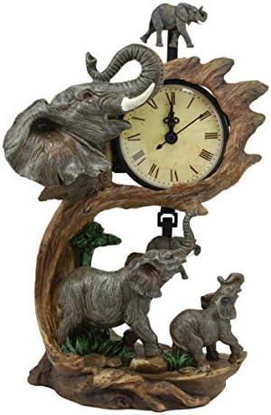 Ebros Wild Safari African Elephant Father and Calf Family Table Clock with Pendulum Elephants by Savannah Forest Jungle Habitat Desktop Clocks Figurine