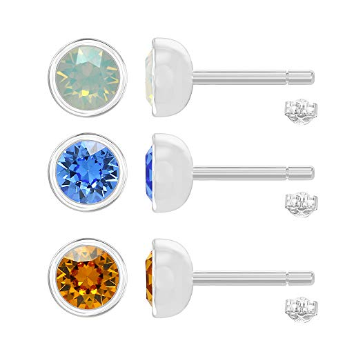 925 Sterling Silver Three Pair Combo Set Of Stud Earrings Embellished With Swarovski Crystals Opal Sapphire Topaz Color