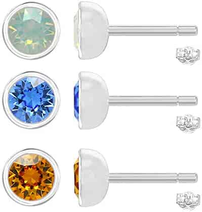 acbaf074f Tiny Swarovski Earrings Studs 3 Pairs Combo Opal Sapphire Topaz Color for Second  ear hole women