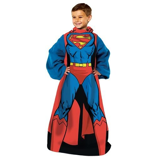 (Superman Comfy Throw Blanket with Sleeves 48in x 48in)
