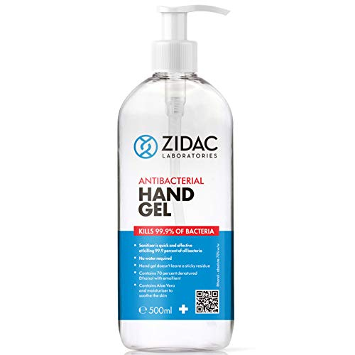 Zidac 500ml Hand Sanitiser 70 Alcohol Antibacterial Pump Top