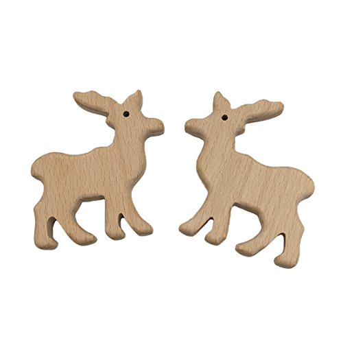 Wendysun 2pcs Wooden Teether Elk Natural Beech Wood Teething Toys for Infant Baby Teether Animals Toddler Soothing Pain Relief Toys for Baby Shower Gift (2pcs)
