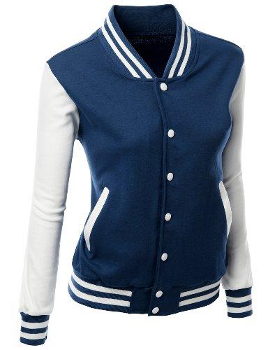 (Stylish Fabric Baseball Jacket Navy S)