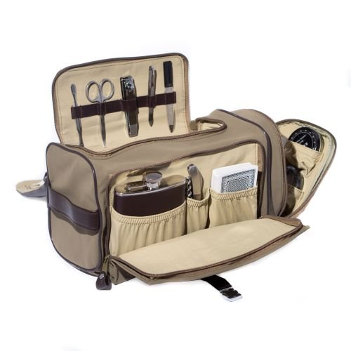 (Tote Bag w/ Flask, Bar tool, Cards, Shoe shine set and 5 Pcs. Manicure Set in Ultra Suede Case)