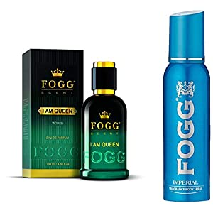 Fogg I Am Queen Scent For Women, 100ml And Fogg Sprays Fragrance Body Spray For Men Imperial, 150ml