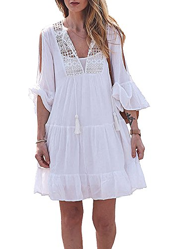 Womens Beach Cover up Dress Crochet Mini Short Summer Dress Swimsuit Bikini Cover up (Ruffle Swim Dress)