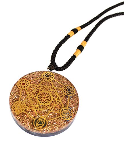 Reversible Metatron Cube Orgonite Mixed Chakra Orgone Pendant - Revitalization and relaxation Chi energy enhancing Carnelian and Lapis Lazuli, Crystal necklace with Tesla Coil Ezina Designs Meditation