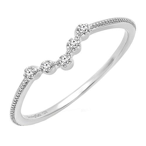 0.05 Carat (ctw) 14K White Gold Round Diamond Ladies Five Stone Chevron Wedding Band (Size 7) - 14k Gold Chevron