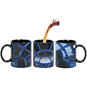 Star Wars Heat Changing Coffee Mug - Rey & Chewie in Millennium Falcon Cockpit Hyperspace