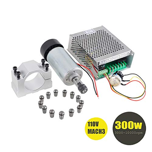 Beauty Star 1Set DIY Mini CNC 300w DC Spindle Motor + 52MM Clamp + 110V Power Converter + 13 PCS ER11 Collect ()