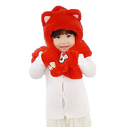 [Coreliky Kids Hat , Gloves and Scarf 3 in 1 Cute Winter Acessory, Faux Cat Hoodie Hoods Hat Mitten] (Buffalo Bob Costume)