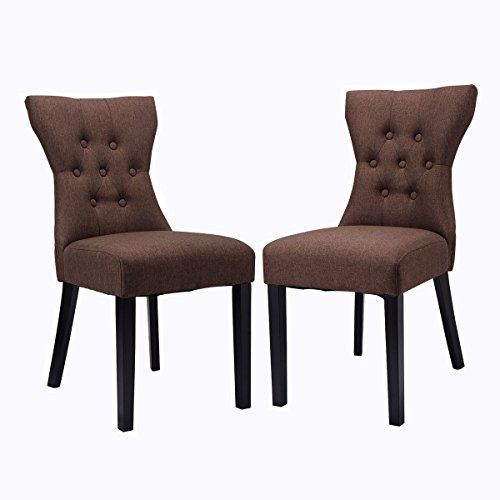 Giantex 2PCS Dining Chair Modern Elegant Chair Home Kitchen Living Room Furniture (Brown)