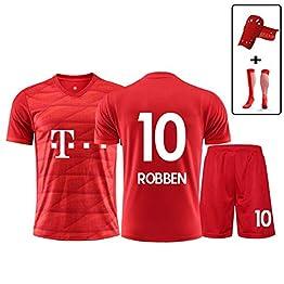 Haoshangzh55 19-20 Bayern Munich Arjen Robben n ° 10 de Football, Uniforme Maillot Manches Courtes pour Enfants et garçons Shorts Suit la Formation,2XL