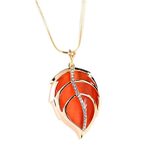 Orange Pendant Necklace - Charm Leaf Pendant Extra Long Necklace Bohemian Costume Jewelry Gold Plated for Women Created Opal Orange