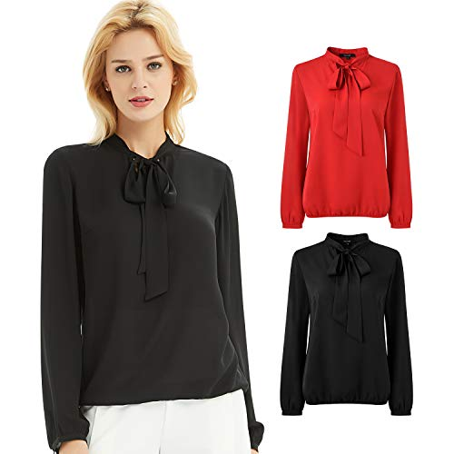 Basic Model Womens Chiffon Blouse Bow Tie Neck Tops Long Sleeve Casual Office Work T Shirts(Black,S)