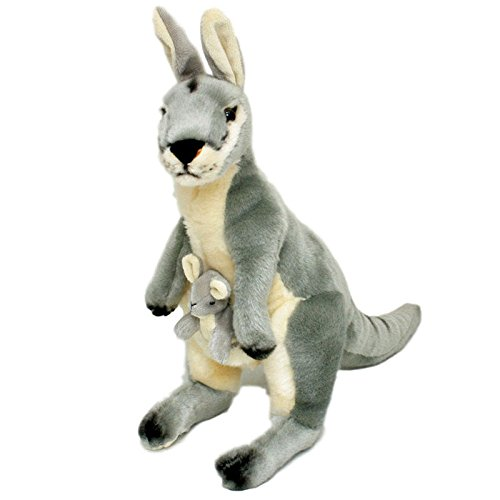 Trudy Toys (Bocchetta Plush Toys Kangaroo Grey With Joey Soft Plush Toy Trudy 17