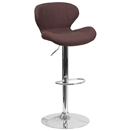 Flash Furniture Contemporary Brown Fabric Adjustable Height Barstool with Chrome Base Lift Swivel Counter Stool