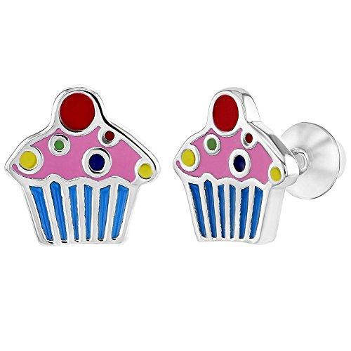 925 Sterling Silver Enamel Colorful Little Cupcake Screw Back Earrings for Girls