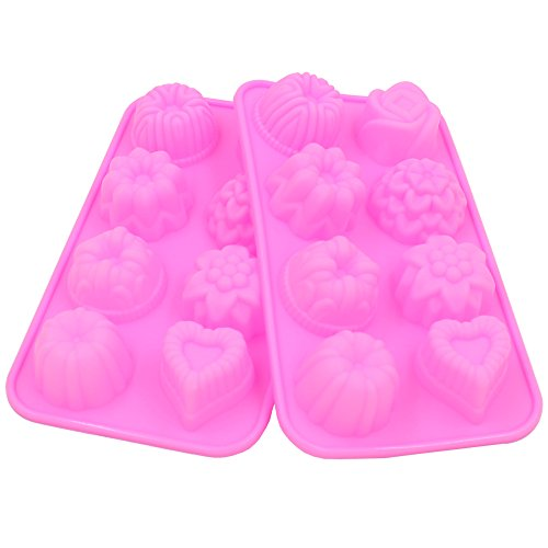 Zicome 8-Cavity Adorable Flower Leaf Silicone Soap Mold Cake Decoration Mold, Set of 2 (Decorative Mold)