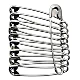 100 Extra Large Sturdy Safety Pins 2 Inches / 50 mm, Sewing Craft Pin Needles (Pack of 100 Pin) Nickel Polished