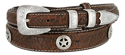 Western Silver Engraved Rodeo Star Ranger Genuine Leather Bison Belt for Men (Brown, 48) (Big And Tall Western Belts)