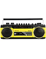 Riptunes Cassette Boombox, Retro Blueooth Boombox, Cassette Player and Recorder, AM/FM/ SW-1-SW2 Radio-4-Band Radio, USB, SD, Headphone Jack, Yellow