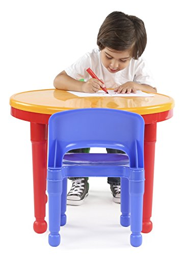 Tot Tutors Kids 2-in-1 Plastic LEGO-Compatible Activity Table and 2 Chairs Set, Primary Colors by Tot Tutors (Image #1)
