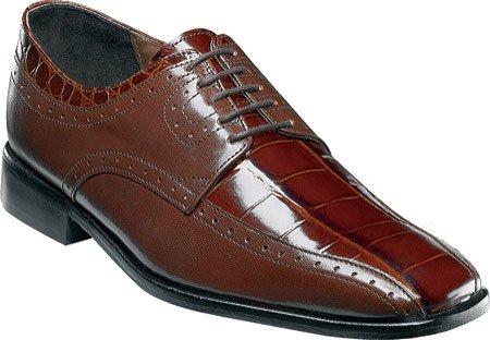 Adams Shoes Cognac 24638 Men's Stacy Kidskin Leather Print Animal Mazara Crocodile Print AqdxwH