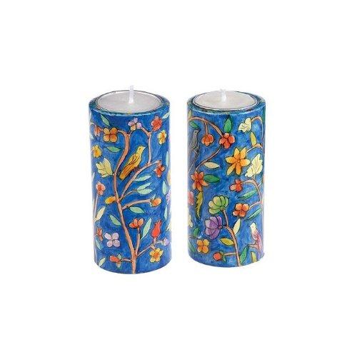 Yair Emanuel Round Shabbat Candlesticks with Oriental Design