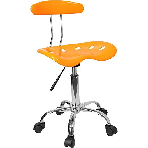 Vibrant Orange-Yellow and Chrome Computer Task Chair with Tractor Seat [LF-214-YELLOW-GG] electronic consumers